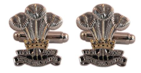 Royal Welsh Regiment Enamel Cufflinks and Lapel Pin, - The Mess