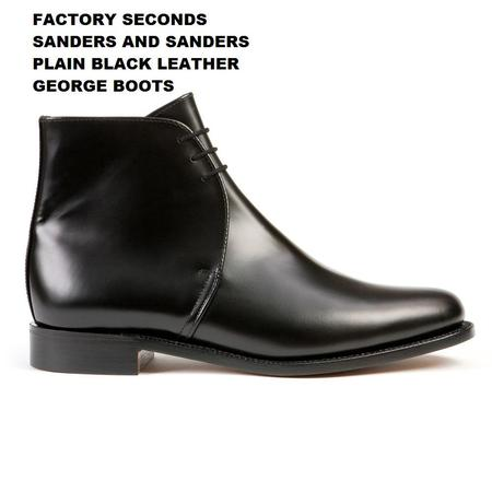 Factory Seconds Sanders Plain Black Leather George Boots