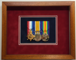 WW1 Medal Trio Full Size Medals  - Framed